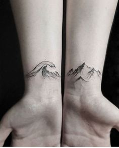 Lovely wave and mountain tattoo by stellatxttoo.