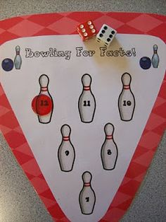 "Bowling For Integers - This is a partner game, and each player gets a bowling mat and a handful of colorful chips. The players take turns rolling 2 dice, then adding the sums of the numbers rolled. When one of the players rolls a number found on one of their pins, they ""knock over"" that pin with a chip. The first player to have all pins knocked over wins the game!"