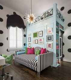 Custom loft, cabinetry, daybed in this teen dream Kate Spade-inspired bedroom.