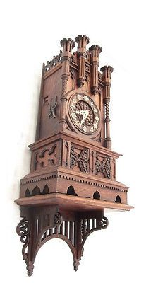 LARGE Antique 1800's (PHS Phillip Haas) GOTHIC MANTLE CUCKOO CLOCK WITH BRACKET