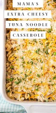 This is my Mama's recipe for the BEST Tuna Noodle Casserole! It's easy to make and packed with tuna, cheesy noodles and lots of flavor! #TunaNoodleCasserole #Casserole #EasyCasserole #CasseroleRecipes #TunaCasserole #EasyDinnerIdeas Tuna Casserole, Noodle Casserole, Easy Casserole Recipes, Casserole Dishes, Easy Main Dish Recipes, Easy Dinner Recipes, White Chicken Lasagna, Tuna Noodle, Food Dinners