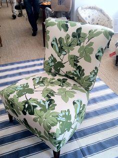 fun slipper chair in Peter Dunham's 'Fig Leaf'