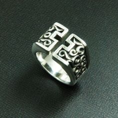 OPEN CROSS ARABESQUE 925 STERLING SILVER US Size 10.75 BIKER GOTHIC RING EC-R007