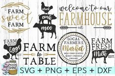 This SVG bundle with 7 farmhouse designs is perfect for diy projects and diy home decor with Cricut or Silhouette machines! Would look great as wall decor in a farmhouse kitchen! Weekend Crafts, Diy Cutting Board, Vinyl Cutting, Cricut Air, Scrapbooking, Silhouette Studio Designer Edition, Pallet Signs, Vinyl Projects, Vinyl Crafts