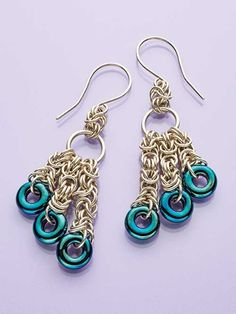 Work Byzantine chain maille weave to create dainty earrings embellished with colorful glass rings. Required Materials: 16-gauge AWG (1.2mm) 5/16