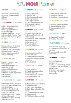 Great reference for home binder categories . Clean Life and Home: The Mom Planner: Home Management Binder for Moms Agenda Planning, To Do Planner, Planner Pages, Life Planner, Printable Planner, Happy Planner, Printables, Family Planner, Planner Inserts
