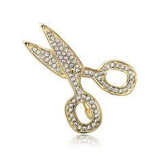 Gold Plated Rhinestone Scissors Pin Brooch