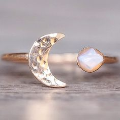 NEW || Rose Gold Little Raw Opal and Moon Ring || Available in our 'NEW' Collection || www.indieandharper.com