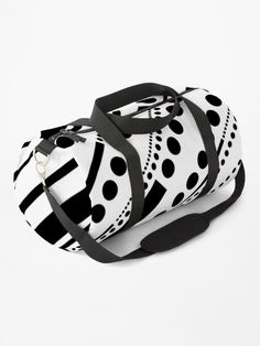 """""""Dashes & Dots - Black on White"""" Duffle Bag by LAEC-Shop 
