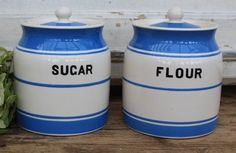 Price Bros Kitch Ware Blue Line Large Canisters