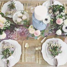 Spring tablescape #goals! 😍💐☀️ #happilyeveretched www.letstietheknot.etsy.com