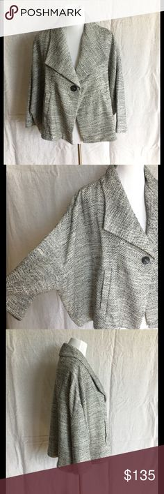 Eileen Fisher Cotton Tweed Swing Jacket White and black short jacket with a swingy silhouette, dolman sleeves, and single button closure. Super versatile style! Lining is silk. Pockets. This will fit up to a size 12. No trades. Eileen Fisher Jackets & Coats