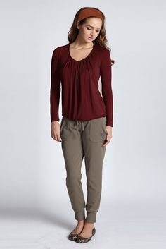 d86dfe7c789179 Slouchy Pleated Long Sleeve Nursing Top (Deep Cabernet)