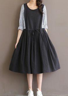 Women dress loose fit pocket large size skater skirt stripes drawstring casual #Unbranded #dress #Casual