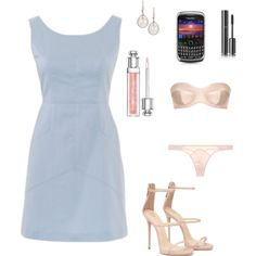 Anastasia Steele - SIP Pale Blue Shift Dress by ohmyfifty on Polyvore featuring Mode, L'Agent By Agent Provocateur, Eli, Christian Dior and Chanel