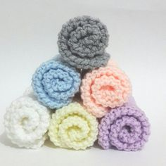 Hand Knitted Dishcloths/Washcloths,Knitted Facecloths, You choose the color of White, light yellow, salmon, light purple, light blue or gray