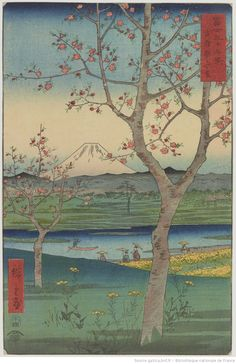 Fuji seen at the outskirts of Koshiga-ya in Musashi province, from the 36 views of Mt. Fuji 1858 series by Utagawa Hiroshige woodblock print. ukiyo-e. Korean Painting, Japanese Painting, Painting & Drawing, Vincent Van Gogh, Van Gogh Arte, Art Asiatique, Art Japonais, Paul Gauguin, Japan Art