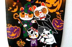Halloween halloween tapestry maneki neko tapestry by Morondanga
