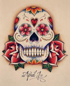 Sugar Skull - Coloured by __april, via Flickr