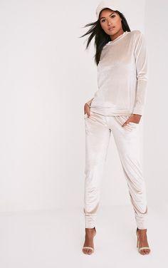 Justinna Stone Velvet Tracksuit Bottoms | Trousers | UK | PrettyLittleThing.com
