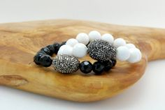 Black and White Onyx Gemstone Swarovski Crystal
