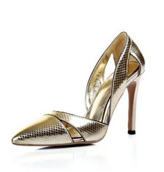 2014 summer new women shoes pointed gunuine leather pumps thin heels hollow out gold high-heeled  female fashion talons 8 $119.75