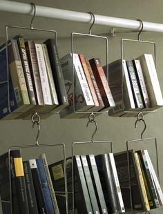 hanging library -- books and shelves by Legegyedibb Könyvespolc Hanging Bookshelves, Unique Bookshelves, Book Shelves, Bookcases, Bookshelf Design, Bookshelf Ideas, Floating Bookshelves, Unique Shelves, Small Shelves