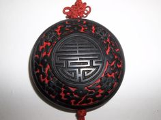 Vintage Chinese Carved Red CINNABAR Black Lacquer PENDANT Asian Symbol LONGEVITY