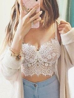 Women Crop Tank Tops 2017 Summer Fashion Sexy Spaghetti Strap Hollow out Lace Crochet Beach Sexy Camis Bustier Bra Plus Size Bustiers, Lingerie Design, Sexy Lingerie, Bralette Crop Top, Lace Bralette, Lace Bustier, Summer Outfits, Casual Outfits, Cute Outfits