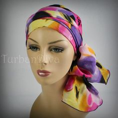 Purple Pattern Turban Chemo Head Wrap Alopecia Scarf. $49.95, via Etsy.