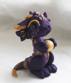 Purple and Gold Bitty Dragon by BittyBiteyOnes on Etsy