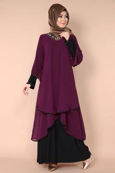 Yakası Taş İşli Abiye Elbise SMT1004 Bordo Abaya Fashion, Muslim Fashion, Fashion Dresses, Latest Ankara Short Gown, Modele Hijab, Hijab Trends, Hijab Fashion Inspiration, Hijab Style, Short Gowns