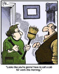 Joke Marriage Broom Broken Cab Cartoon