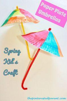 Paper plate umbrella craft - spring craft for kids
