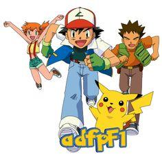 Ash (OS), Misty, Brock y Pikachu by adfpF1