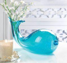 AQUA BLUE ART GLASS WHALE VASE DECOR NEW~10016183