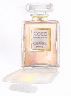 Coco Mademoiselle Chanel Painting Watercolor by SpunSugarPaperie. $12.00, via Etsy.