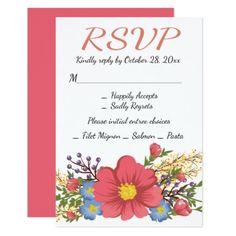 #Floral Pink RSVP Watercolor Flowers Wedding Card - #weddinginvitations #wedding #invitations #party #card #cards #invitation #floral