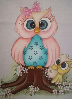 Corujinha Mamãe Tole Painting, Fabric Painting, Owl Artwork, Owl Wallpaper, Owl Family, Owl Pictures, Cute Owl, Cute Drawings, Illustration Art