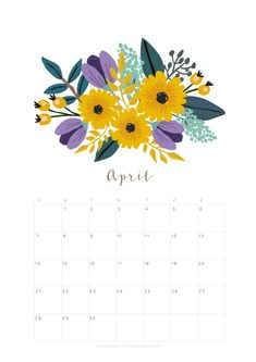 Printable Images Of Flowers Luxury Printable April 2019 Calendar Monthly Planner 2 Designs April Calender, Cute Calendar, Print Calendar, Kids Calendar, 2019 Calendar, Printable Calendar Template, Printable Designs, Printable Planner, Free Printable
