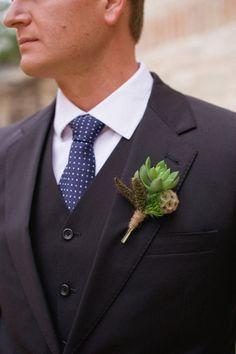 Succulent boutonniere: Photography: Lissa Anglin - http://www.lissaanglin.com/