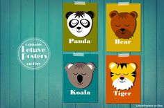 SIMPLE BEAR POSTER Colourful Animal for Kids by LetuvePosters