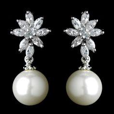 CZ and Diamond White Pearl Wedding Earrings - Affordable Elegance Bridal -