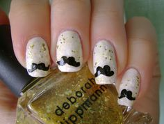 Konad Addict: Home made nail stickers TUTORIAL: Mustache manicure