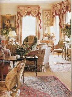 english country - mix of textures and furniture form different periods