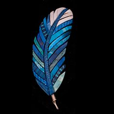 """Blue Jay Feather Mosaic Pendant Wrapped in Sterling Silver by Linda Webb Clay ~ 2.75"""" x"""