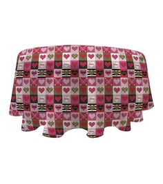 Valentine's Day 60'' Round PEVA Tablecloth-Love Boxes