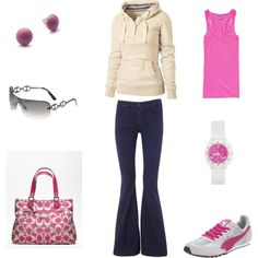 Pink Casual, created by achristie on Polyvore   I'd have to change the jeans for my short body.