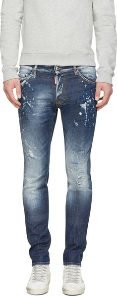 Dsquared2 Blue Distressed Cool Guy Jeans