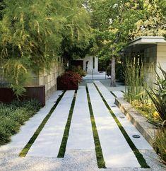 Linear paving layout. Contemporary garden design. Pinned to Garden Design by Darin Bradbury.